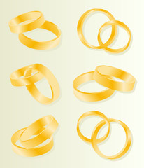 Gold wedding rings vector background set