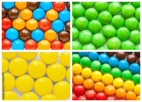 colorful collage of various candies