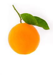 Orange with leaf on a white background