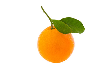 Orange with leaf on a white background