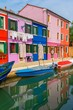 A colorful houses in street in Burano island