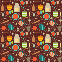 Colorful retro seamless pattern with cooking related symbols