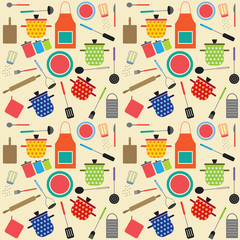 Colorful seamless pattern with cooking related symbols
