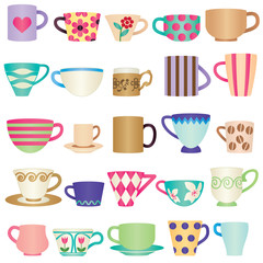 Various colorful cups
