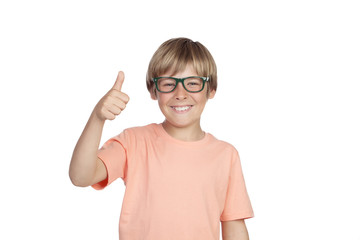 Smiling boy with glasses saying Ok