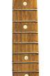 old wooden guitar on a white background