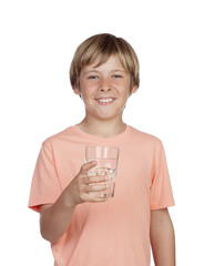 Thirsty adolescent with water for drink.