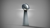 American football silver trophy with move from high to low