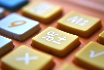 Calculator close-up shot focus on percentage