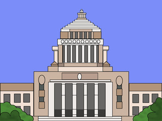 青空の国会議事堂