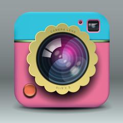 App design photo camera icon, vector Eps10 illustration.