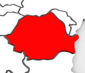 Romania Country Abstract 3d Map Eastern Europe
