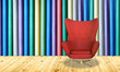Red chair on colorful wall background