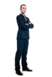 Portrait of a young businessman full length against