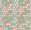 Abstract geometric hexagon seamless pattern in blue and orange