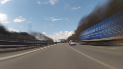Driving on highway in Germany, time-lapse