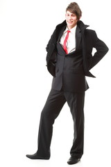 young businessman black suit casual tie on white background