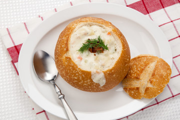 Clam Chowder in Bread Bowl