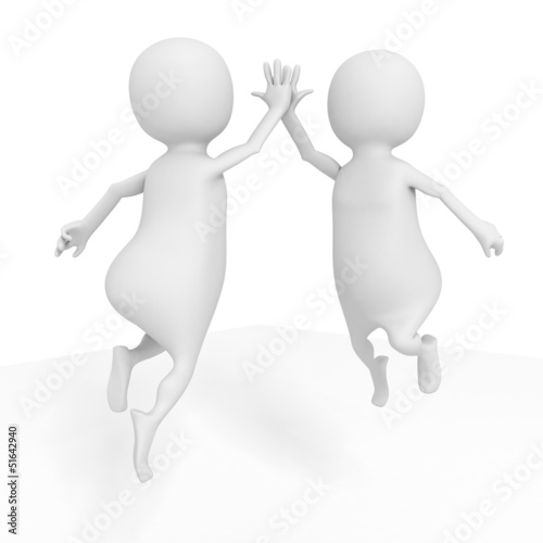 two happy successful white 3d men jumping