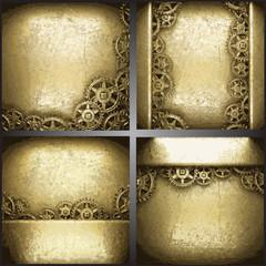 gear wheels on gold background set