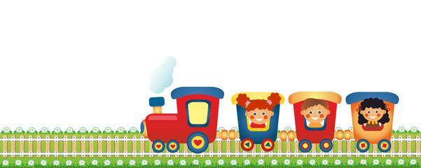 Children riding train on white background