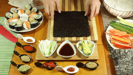 Preparing Nori seaweed for making Sushi rolls