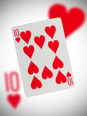 Playing card, ten of hearts