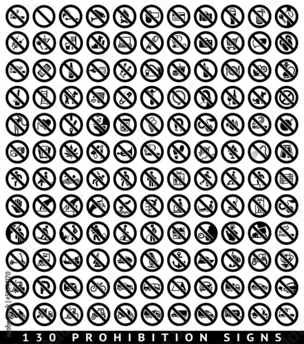 130 Prohibition black signs