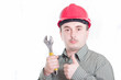 male construction worker over white background
