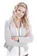 Attraktive blonde junge Frau isoliert im Business-look