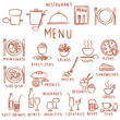 Various hand drawn restaurant menu elements