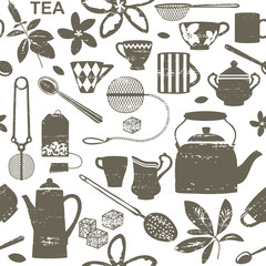 Scratched tea related seamless pattern