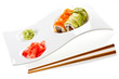 sushi on ceramic plate isolated on white