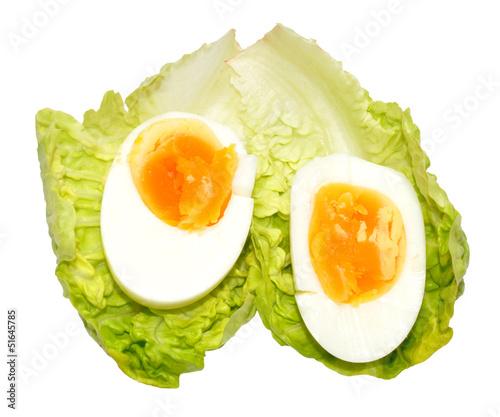 Boiled Egg On Lettuce Leaf