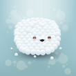 Cute face made of white bubbles