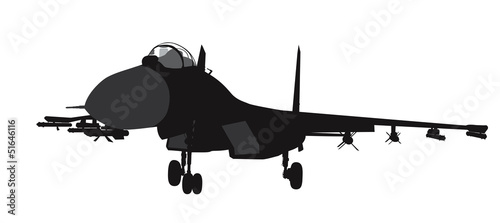 Fighter aircraft vector silhouette