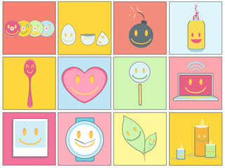 Collection of icons on colorful backgrounds.