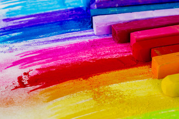 Colorful chalk pastels education, arts,creative.
