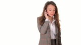 Stressed boss angry on cellphone on white background