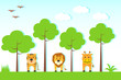vector illustration of animals in jungle with tree