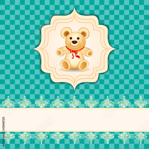vector illustration of teddy bear on childish card