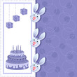vector illustration of rabbits in Birthday card