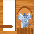 vector illustration of baby elephant on childish background