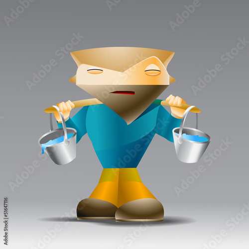Cartoon man with buckets of water