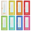 Collection of colorful doors with glass.