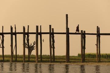 U.bein,  worlds longest wooden bridge,  in Myanmar