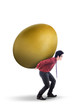 Businessman carry gold egg on white