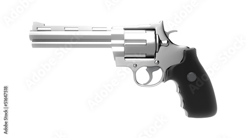 Revolvers on white background, repeatly loop