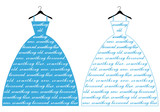 blue wedding dress, vector