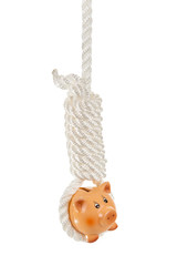 Piggy bank hanging on a hangmans noose